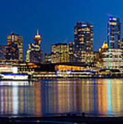 Vancouver Bc City Skyline Reflection Poster