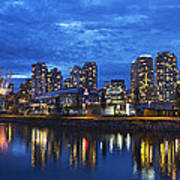 Vancouver Bc City Skyline With Bc Place At Blue Hour Poster