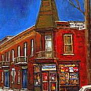 Vanishing Montreal Landmark Depanneur Ste. Emilie And Bourget Montreal Painting By Carole Spandau  Poster