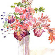 Vase Of Dried Flowers Poster