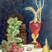 Vase With Grapes Poster