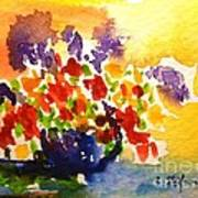 Vase With Multicolored Flowers Poster