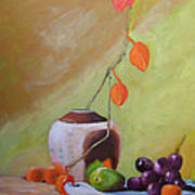 Vase With Orange Leaves And Fruit Poster