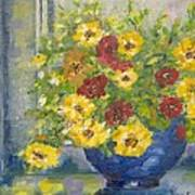 Vase With Yellow Flowers Poster