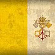 Vatican City Flag Vintage Distressed Finish Poster