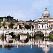 Vatican City Seen From Tiber River Poster
