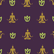 Vector Design Yoga Pose Pattern Poster