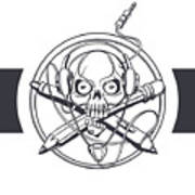 Vector Illustration Of A Black Skull Poster