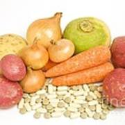 Vegetables And Supplement Pills Poster