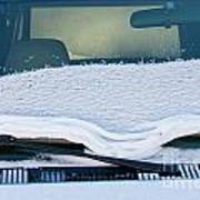 Vehicle Windshield Fresh Snow Thawing Poster