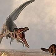Velociraptor Chasing Small Mammal Poster