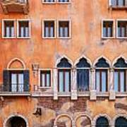 Venetian Building Wall With Windows Architectural Texture Poster