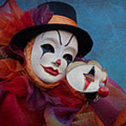 Venetian Carnival - Portrait Of Clown With Mask Poster