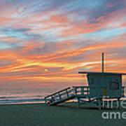 Venice Beach Lifeguard Station Sunset Poster