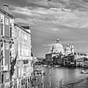 Venice Canal Grande Santa Maria Della Salute Black And White Poster