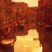 Venice Canal Sunset Poster
