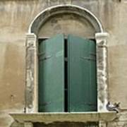 Venice Green Shutters With Birds Poster