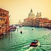Venice Italy Grand Canal And Basilica Santa Maria Della Salute At Sunset Poster