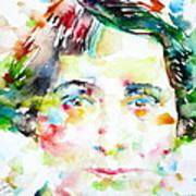 Vera Brittain - Watercolor Portrait Poster