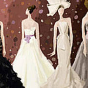 Vera Wang Bridal Dresses Fashion Illustration Art Print Poster by Beverly Brown