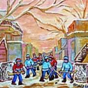 Verdun Back Lane Hockey Practice Montreal Winter City Scen Painting Carole Spandau Poster