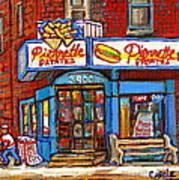Verdun Famous Restaurant Pierrette Patates - Street Hockey Game At 3900 Rue Verdun - Carole Spandau Poster