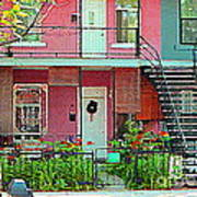 Verdun Flower Boxes Pink House Fenced Front Garden Red Flowers Staircase Scenes Carole Spandau Poster