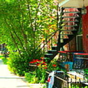 Verdun Stairs Red Flowers On Winding Staircase Tall Shade Tree Montreal Summer Scenes Carole Spandau Poster