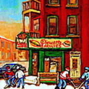Verdun Street Hockey Pierrettes Restaurant Rue 3900 Verdun -landmark Montreal Hockey Art Work Scenes Poster