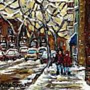 Verdun Winter Row Houses In January Montreal Paintings Time For A Walk Carole Spandau Poster