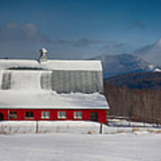 Vermont Barn In Snow With Mountain Behind Poster