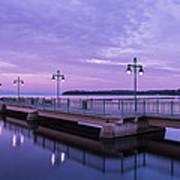 Vermont Lake Champlain Sunrise Clouds Fishing Pier Poster
