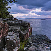 Vermont Lake Champlain Sunset Clouds Shoreline Poster