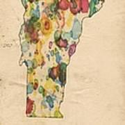 Vermont Map Vintage Watercolor Poster