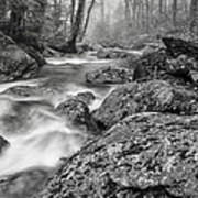 Vermont River Fog Mount Mansfield Black And White Poster