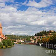 Verona Adige River View Toward Castel San Pietro Poster