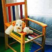 Vertical Of Dog In Kid Chair. Poster