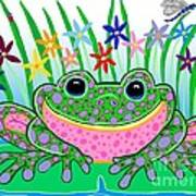 Very Happy Spotted Frog Poster by Nick Gustafson