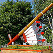 Very Large Pipestone Pipe Sculpture By Former Rock Island Line Railroad Depot In Pipestone-minnesota Poster