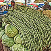 Very Long String Beans In Mangal Bazaar In Patan-nepal Poster