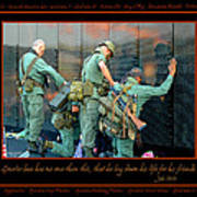 Veterans At Vietnam Wall Poster by Carolyn Marshall