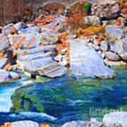 Vibrant Colored Rocks Verzasca Valley Switzerland II Poster