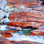 Vibrant Colored Rocks Verzasca Valley Switzerland Poster