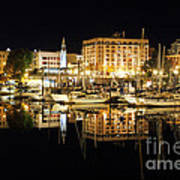 Victoria Inner Harbour At Night Poster