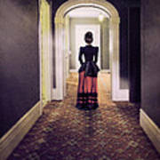 Victorian Lady In Hallway Poster