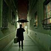 Victorian Man With Top Hat Carrying A Suitcase And Umbrella Walking In The Narrow Street At Night Poster