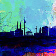 Vienna Watercolor Skyline Poster