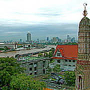 View From Temple Of The Dawn-wat Arun In Bangkok-thailand Poster