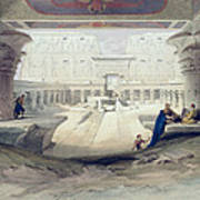 View From Under The Portico Of Temple Poster by David Roberts