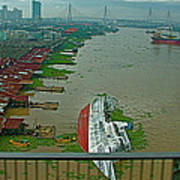 View Of A Ship On Its Side From A Bridge Near Bangkok-thailand Poster